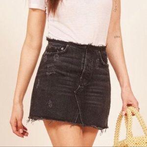 Reformation Westin Cropped Black Denim Skirt NWT